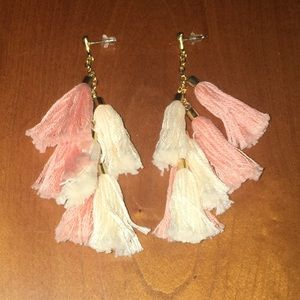 Peach and light pink tassel earrings